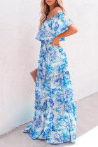 Floral Printed Off-the-shoulder Tiered Maxi Dress