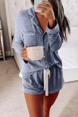 Blue Long Sleeve Drawstring Button Loungewear