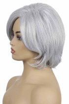 Silvery White Short Curly Party Wig