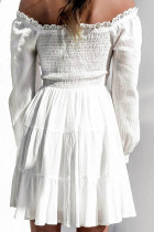 White V Neck Pleated Lace Layered Swing Mini Dress