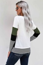 Grøn stilfuld Colorblock Splicing Stripes Top