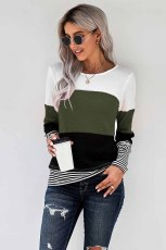 Πράσινο στιλ Colorblock Splicing Stripes Top