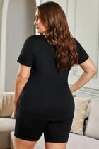 Černé tričko s výstřihem do V plus velikosti V a šortky Loungewear