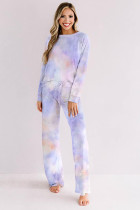 Blue Tie-dye Print Loungewear Set
