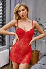 Red Lace-up Back Floral δαντέλα Babydoll