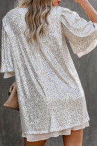 Silvery Sequin Shift Mini Dress