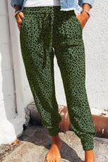 Green Breezy Leopard Joggers