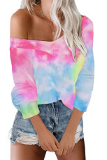 Sky Blue V Neck Tie-Dyed Knitted Long Sleeve Top