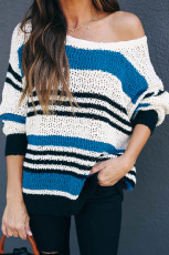 Blue Loose Fit Striped Pattern Genser