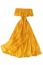 Yellow Off-the-shoulder Tiered Pleated Maxi Dress
