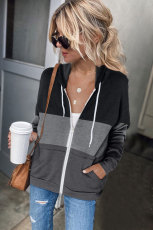 Black Zip Front Color Block Splicing Drawstring Hoodie