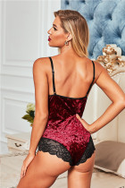 Red Velvet Lace Mesh Stitching Sexy Bodysuit