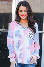 Μακρυμάνικο Leopard Pocket Pink Tie Dye Top