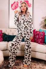 Brown Leopard Print Loungewear Set