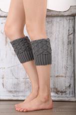 Серые вязаные носки-гетры