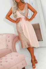 Pink Chiffon Detail Sequin Dress