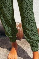 Зеленые воздушные джоггеры с леопардовым принтом