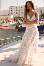 White 3D Lace Motifs Ceremony Maxi Dress