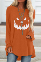 Orange Halloween Printed Pullover Long Sleeve Tunic Top