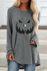 Gray Halloween Printed Pullover Long Sleeve Tunic Top