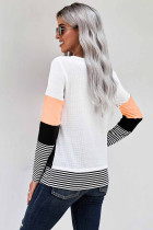 Abrikos Stilfuld Colorblock Splicing Stripes Top
