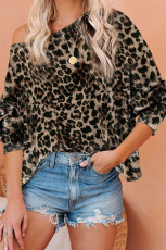 Atasan Lengan Panjang Leopard Pullover