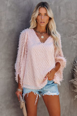 Pink Feather Balloon Sleeve Pullover Top