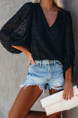 Black Feather Balloon Sleeve Pullover Top