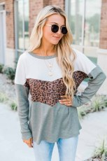 Green Leopard Print Stitching Color Block Long Sleeve Top