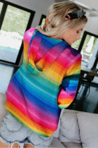 Multicolor Tie-Dyed Zipper Pocket Drawstring Hooded Jacket
