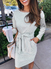 Gray Striped Pocket Long Sleeve Mini Dress With A Belt