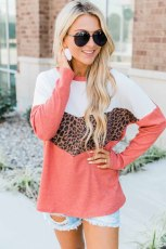 Red Leopard Print Stitching Color Block Long Sleeve Top