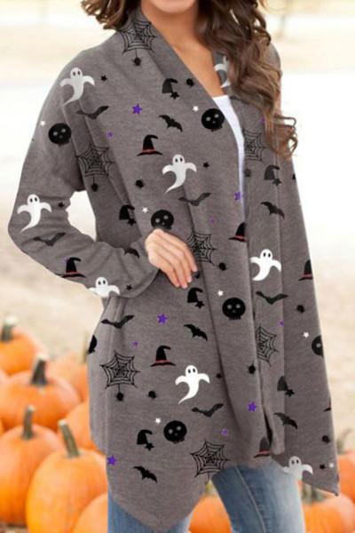 Halloween Spirit Printed Grey Cardigan