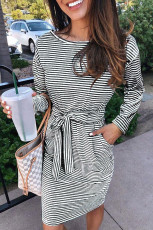 Black Striped Pocket Long Sleeve Mini Dress With A Belt
