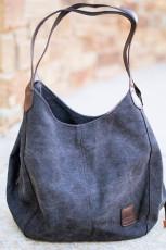 Zwarte retro een schouder canvas hobo handtas