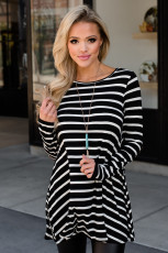 Black Stripe Elbow Patch Button Back Tunic Top