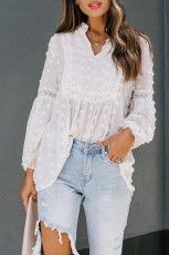 White Ruffled Split Neck Lace Hollow Out Puff Sleeve Polka Dot Blouse