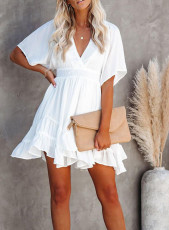 White V Neck Ruffle Layered Swing Mini Dress with Waist Belt