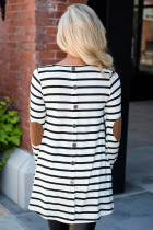 White Stripe Elbow Patch Button Back Tunika