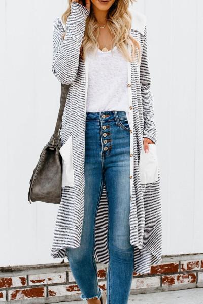 Solidní Patchworkový dlouhý pruhovaný svetr s kapsami