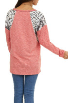 Pink Long Sleeve Top With Leopard Snakeskin Print