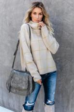 Beige Grid Mønster Turtleneck Sweater