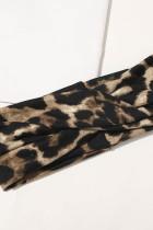 Коричневая повязка на голову с леопардовым принтом