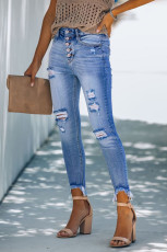Sky Blue High Rise Button Front Frayed Ankle Skinny Jeans