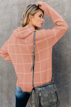 Khaki Grid Mønster Turtleneck Sweater