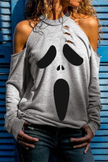 Grå distressed Halloween Ghost Cold Shoulder Genser