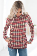 Red Cowl Neck Plaid Drawstring Hoodie with Thumb Hole