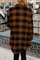 Brown Turn-down Collar Plaid Shirt Coat