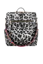 حقيبة ظهر للسفر باللون الرمادي الفهد