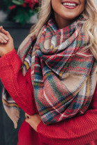 Plaid Print Tykt varmt skjerf sjal